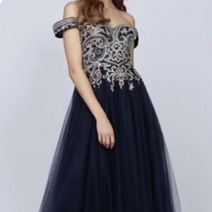 Navy sweetheart Ballgown Long Dress